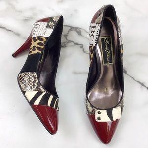 Beverly Feldman Multicolored Patchwork High Heels